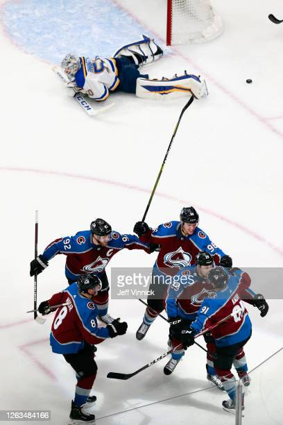 Nazem Kadri of the Colorado Avalanche scores the game winning goal against the St. Louis Blues at the 20 minute mark of the third period in a Round...