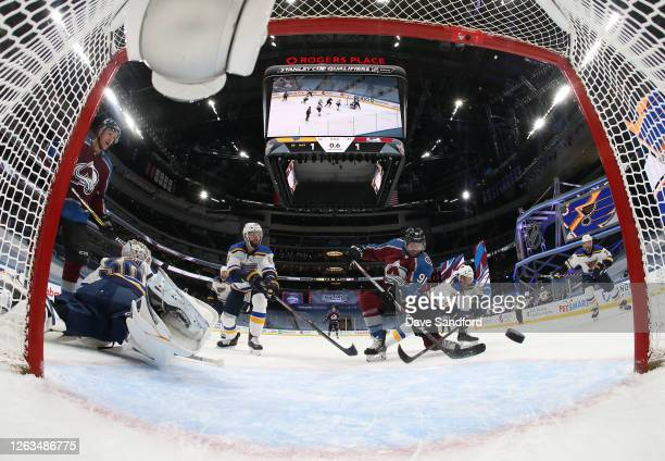 Nazem Kadri of the Colorado Avalanche shoots the puck to the goal with less than a second remaining in the third period of the Round Robin game...
