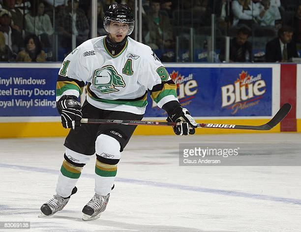 Nazem Kadri of the London Knights skates in a game against the Erie Otters played at the John Labatt Centre on September 19 2008 in London Ontario...