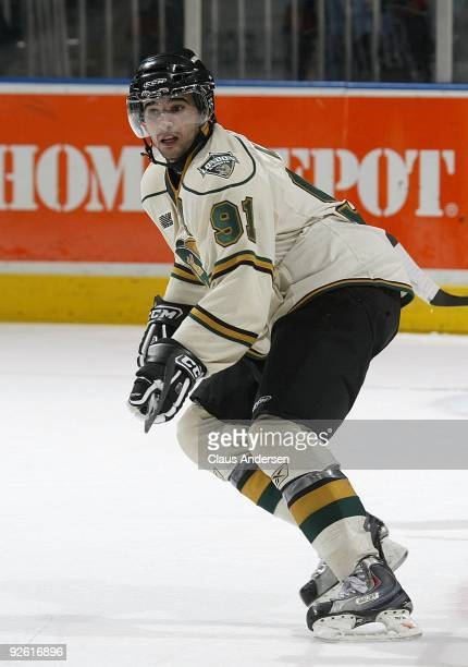 Nazem Kadri of the London Knights skates in a game against the Oshawa Generals on October 30 2009 at the John Labatt Centre in London Ontario The...