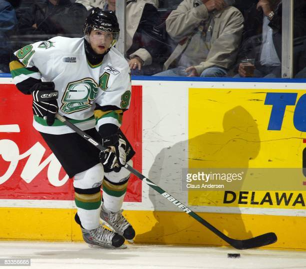 Nazem Kadri of the London Knights skates in a game against the Owen Sound Attack on October 17, 2008 at the John Labatt Centre in London, Ontario....