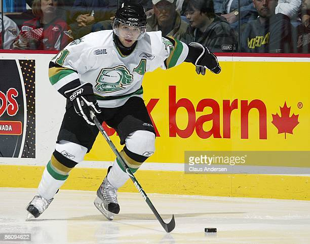 Nazem Kadri of the London Knights skates up ice with the puck in Game Three of the Western Conference Championship against the Windsor Spitfires on...
