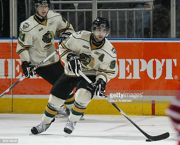 Nazem Kadri of the London Knights skates with the puck in a game against the Oshawa Generals on October 30 2009 at the John Labatt Centre in London...