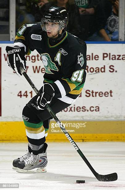 Nazem Kadri of the London Knights skates with the puck in Game Two of the Western Conference Championship against the Windsor Spitfires on April 17...