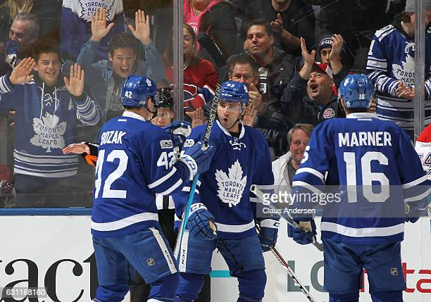 Nazem Kadri of the Toronto Maple Leafs celebrates a goal against the Montreal Canadiens during an NHL game at the Air Canada Centre on January 7,...