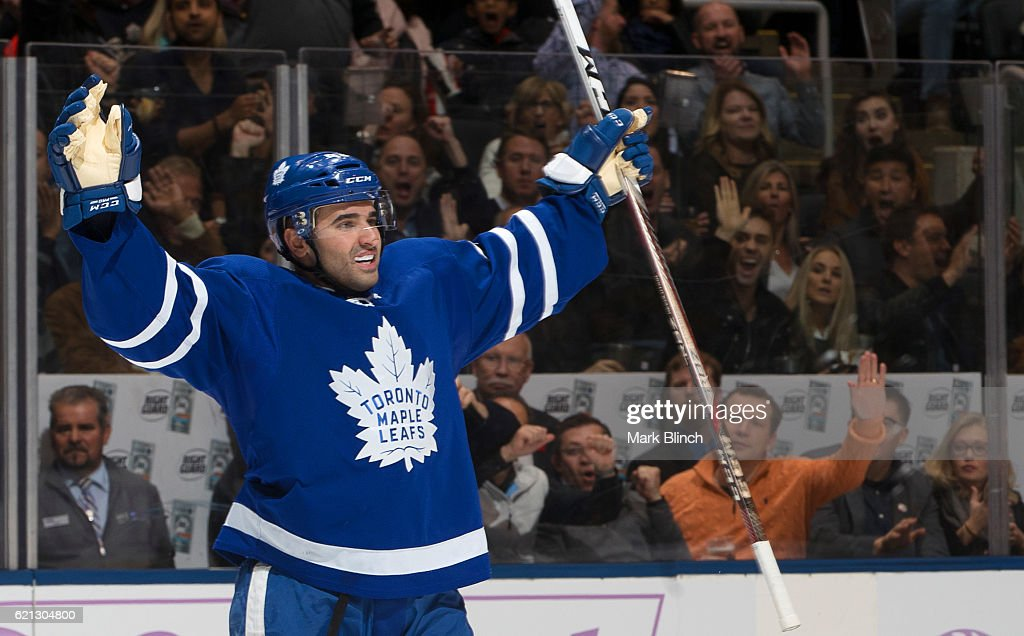 Nazem Kadri #43 of the Toronto Maple Leafs celebrates after scoring on the Vancouver Canucks during the first period at the Air Canada Centre on November 5, 2016 in Toronto, Ontario, Canada.