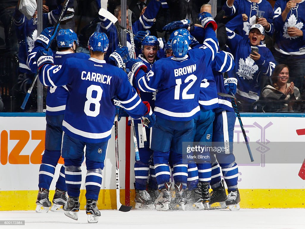 TORONTO, ON - NOVEMBER 1 - Nazem Kadri #43 of the Toronto Maple Leafs celebrates his game winning goal over the Edmonton Oilers during overtime at the Air Canada Centre on November 1, 2016 in Toronto, Ontario, Canada.
