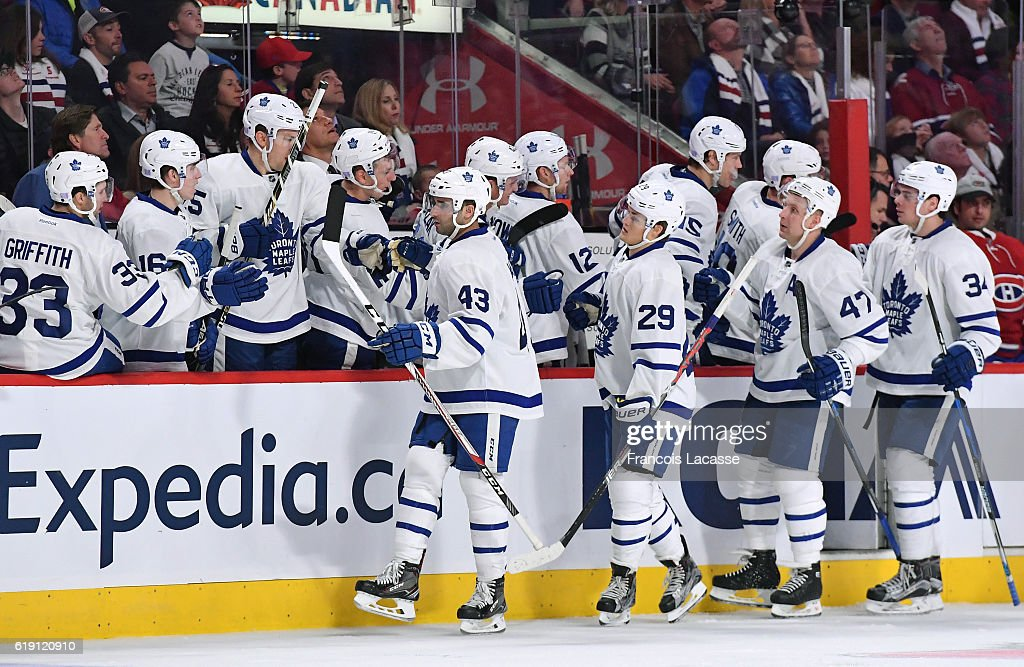 Nazem Kadri #43 of the Toronto Maple Leafs celebrates with the bench after scoring a goal against the Montreal Canadiens in the NHL game at the Bell Centre on October 29, 2016 in Montreal, Quebec, Canada.