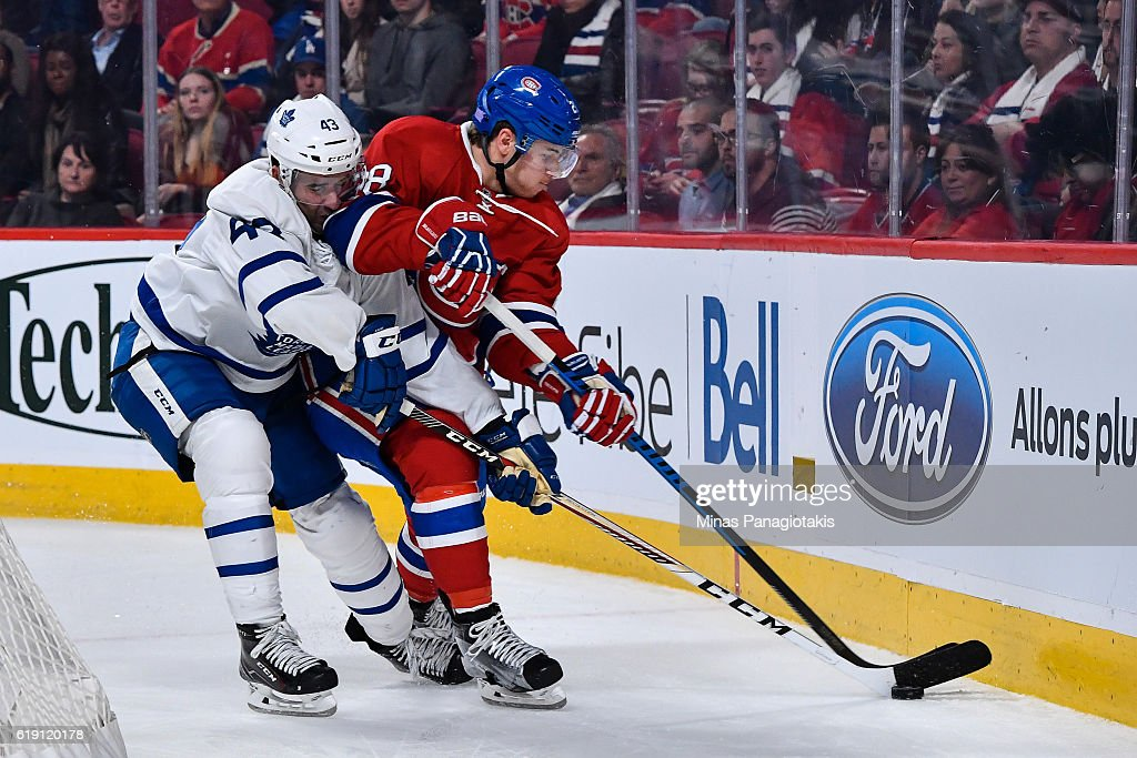 Nazem Kadri #43 of the Toronto Maple Leafs challenges Nathan Beaulieu #28 of the Montreal Canadiens during the NHL game at the Bell Centre on October 29, 2016 in Montreal, Quebec, Canada. The Montreal Canadiens defeated the Toronto Maple Leafs 2-1.