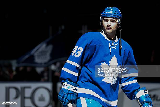 Nazem Kadri of the Toronto Maple Leafs during the National Anthem before an NHL game against the Washington Capitals at the Air Canada Centre on...