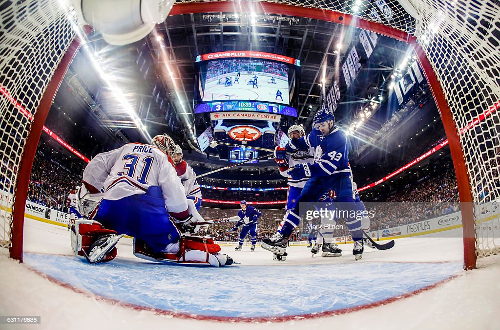 Nazem Kadri #43 of the Toronto Maple Leafs fights for position in front of Carey Price #31 of the Montreal Canadiens during the third period at the Air Canada Centre on January 7, 2017 in Toronto, Ontario, Canada.
