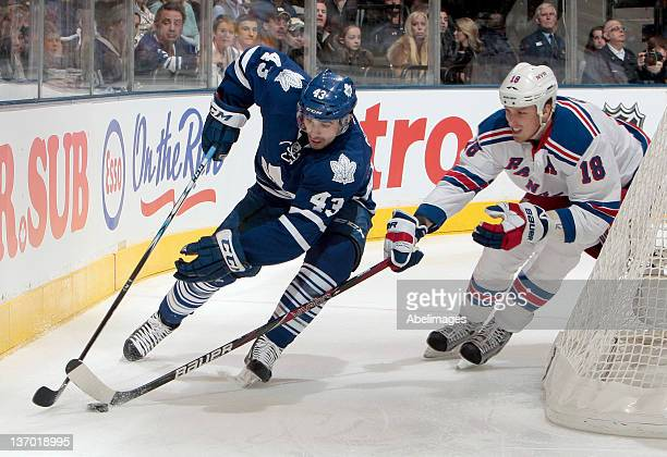 Nazem Kadri of the Toronto Maple Leafs gets past Marc Staal of the New York Rangers during NHL action at the Air Canada Centre January 14 2012 in...