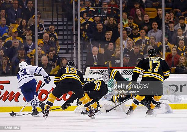 Nazem Kadri of the Toronto Maple Leafs shoots and scores on Tuukka Rask of the Boston Bruins in the third period in Game Seven of the Eastern...