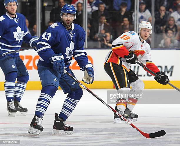 Nazem Kadri of the Toronto Maple Leafs skates against the Calgary Flames during an NHL game at the Air Canada Centre on April 1 2014 in Toronto...
