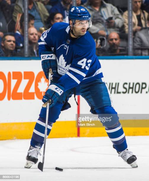 Nazem Kadri of the Toronto Maple Leafs skates against the Los Angeles Kings during the second period at the Air Canada Centre on October 23 2017 in...