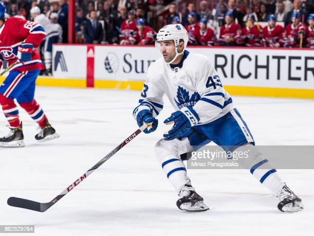 Nazem Kadri of the Toronto Maple Leafs skates against the Montreal Canadiens during the NHL game at the Bell Centre on October 14 2017 in Montreal...