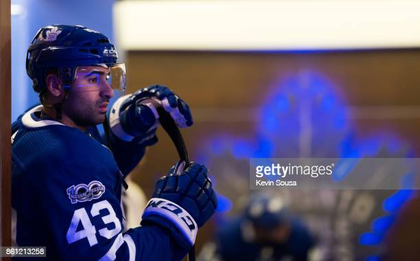 Nazem Kadri of the Toronto Maple Leafs stands outside the locker room prior to an NHL game against the New Jersey Devils at the Air Canada Centre on...