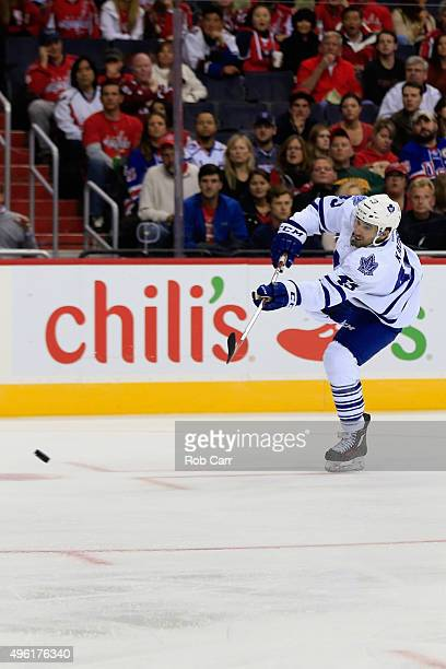 Nazem Kadri of the Toronto Maple Leafs takes a shot on goal against the Washington Capitals in the first period at Verizon Center on November 7 2015...
