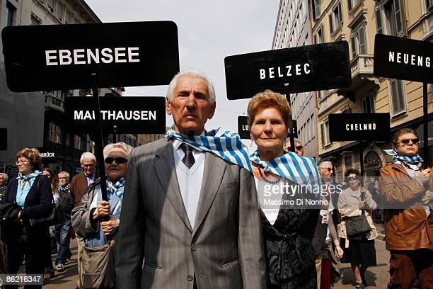 Nazi concentration camp survivors attend the march for Liberation Day on April 25 2009 in Milan Italy The day is taken as symbolic of the Liberation...