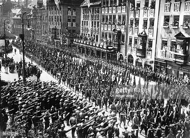 Nazi Congress in Nuremberg Parade of Nazi forces in front of Hitler 19331934