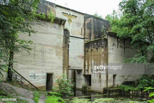 Nazi dam at Mazurski channel is seen on 2 September 2017 in Lesniewo Poland Remains of the unfinished sluice of the Masurian Channel