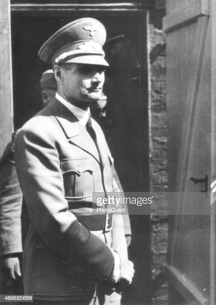 Nazi Deputy Fuhrer Rudolf Hess during a inspection tour of the advanced positions of the western front in France France May 2 1940