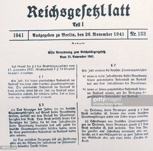 Nazi Era Eleventh Decree Supplementing the Reich Law on Citizenship Issued November 25 1941 A Jew residing abroad cannot be a German subject The...
