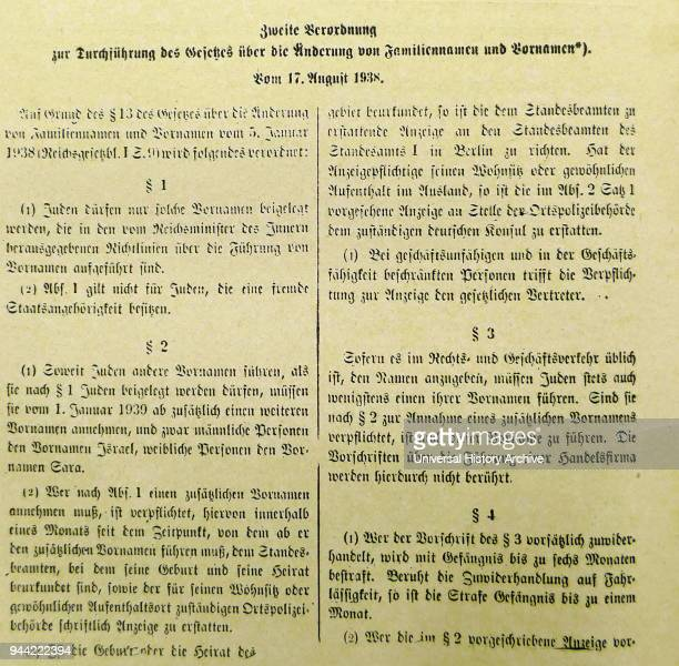 Nazi era Second Decree Pertaining to the implementation of the law on the change of first and family names 17 August 1938 Section I Jews must only be...