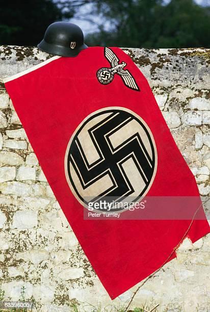 Nazi Flag and Helmet