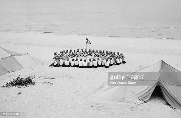 A Nazi flag flies above the beach camp of the League of German Girls also known as the League of German Maidens The organization was the girl's wing...