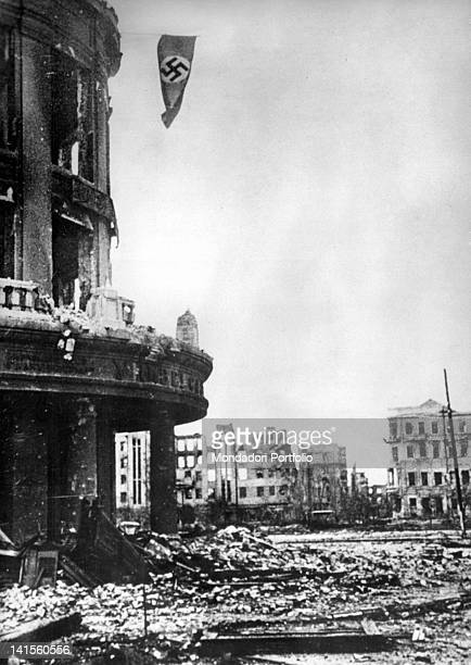 A Nazi flag waving on the ruins of a building of the centre Stalingrad October 1942