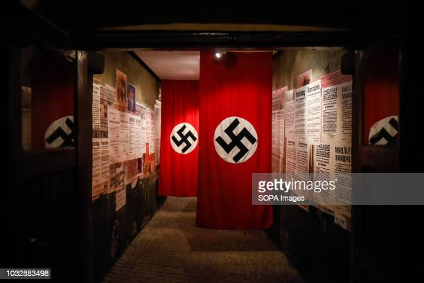 Nazi flags seen during the exhibition Exhibition at Oskar Schindler's Enamel Factory museum it is primarily a story about Krakow and its inhabitants...