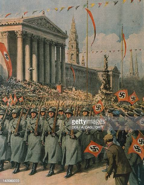 Nazi forces marching in the streets of Vienna following Hitler's coming to power Illustrator Achille Beltrame from La Domenica del Corriere March 1938