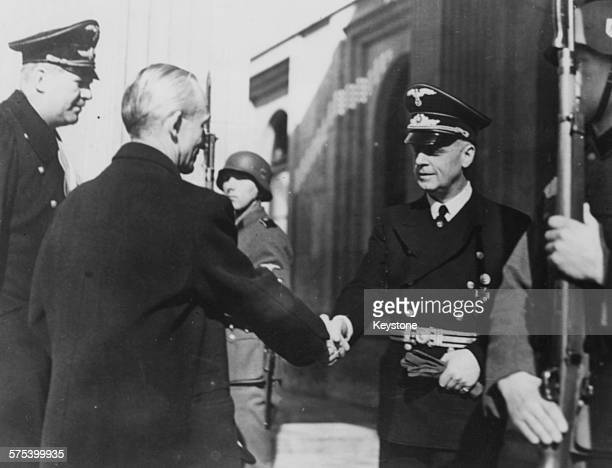 Nazi Foreign Minister Joachim Von Ribbentrop greeting the new Hungarian Prime Minister Laszlo Bardossy with Master of Ceremonies Freiherr von...