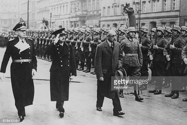 Nazi Foreign Minister Joachim Von Ribbentrop inspecting a Guard of Honor with Hungarian Prime Minister Pal Teleki and Istvan Csaky Hungarian Minister...