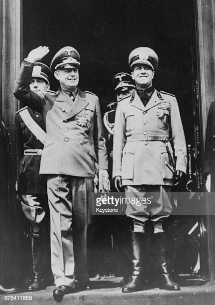 Nazi Foreign Minister Joachim Von Ribbentrop waving with his Italian counterpart Count Galeazzo Ciano as they arrive at Milan station May 7th 1939