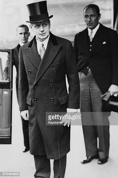 Nazi Foreign Minister Joachim Von Ribbentrop wearing a top hat and overcoat during a visit to London 1938