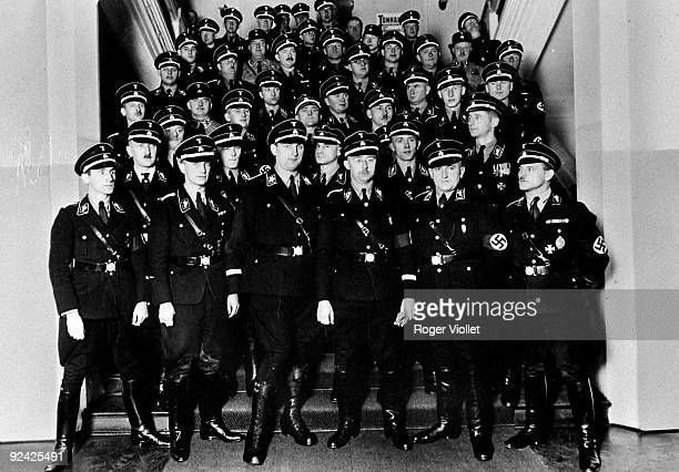 Nazi Germany Himmler surrounded by SS officers On the right are Heydrich and Dietrich