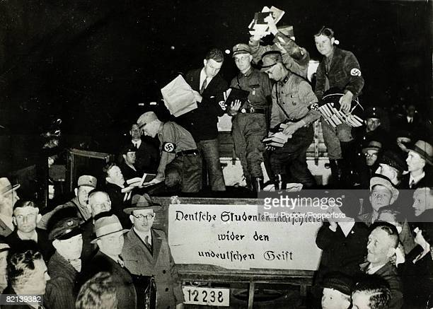 May 1933 German students involved when the Nazi's removed and burnt books written by foreign authors especially by Jews The slogan on the truck reads...