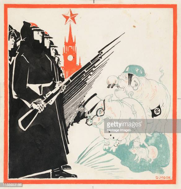 Nazi hogs stopped at the gates of the Kremlin by the Red Army 19411943 Private Collection Artist Moor Dmitri Stachievich