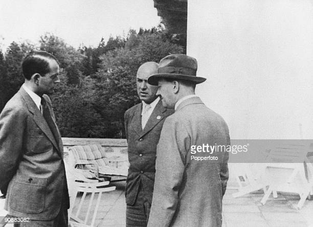 Nazi leader Adolf Hitler at the Berghof his retreat in the Bavarian Alps near Berchtesgaden Germany with German architect Albert Speer and German...