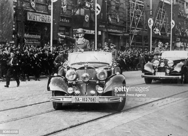 Nazi leader Adolf Hitler receives a rapturous reception on his return to Berlin from Munich after securing the Munich Agreement 2nd October 1938