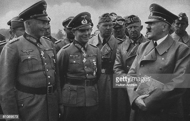 Nazi leader Adolf Hitler with Wehrmacht Field Marshal Gunther von Kluge and Commander of the 7th Panzer Division Erwin Rommel France circa 1940