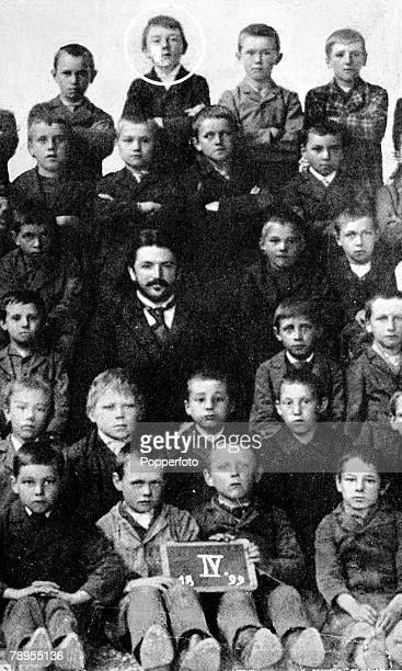 Nazi leader and German chancellor Adolf Hitler pictured as a fourth form school boy in this rare school group taken in 1899 at the Royal...