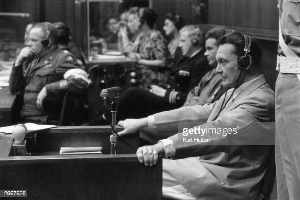 Nazi leader Hermann Goering at the Nuremberg War Crime Trials where he was sentenced to death Original Publication Picture Post 4200 Nuremberg Trials...