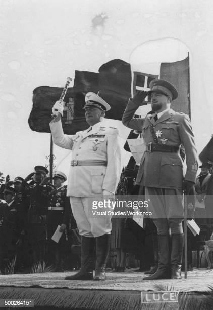 Nazi Leader Hermann Goering stands alongside Italian Air Marshall Italo Balbo during a visit Tripoli Libya 1939