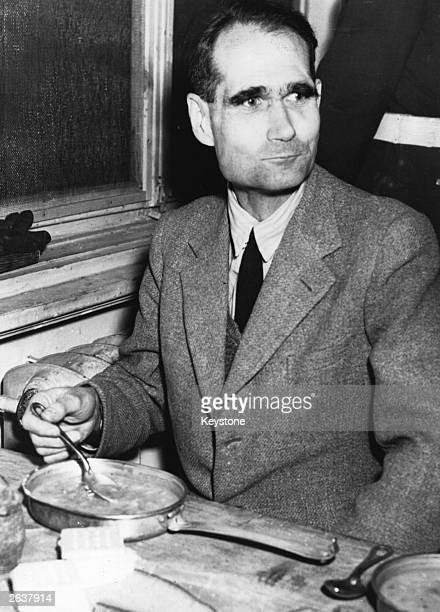 Nazi leader Rudolf Hess in the Palace of Justice at Nuremberg