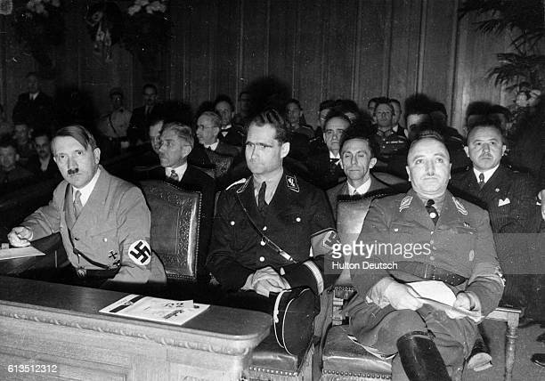 Nazi leaders Adolf Hitler and Rudolph Hess during the 'Congress of National Labour' in Berlin Germany ca 1935