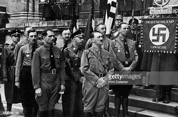Nazi leaders at the Feldherrnhalle Munich Germany 9 November 1934 Commemorating the anniversary of the Nazis' failed Beer Hall Putsch of 1923 In the...