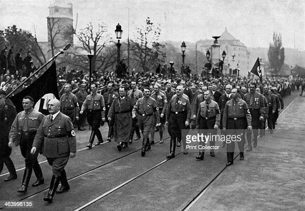 Nazi parade Munich Germany 1934 Commemorating the anniversary of the Nazis failed Beer Hall Putsch of 1923 Joseph Goebbels Hermann Goering and Adolf...